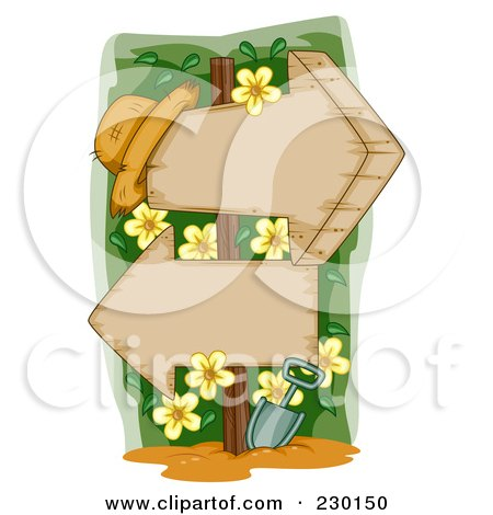 Royalty-Free (RF) Clip Art Illustration of a Garden Hat With Yellow Flowers And Two Wooden Arrow Signs by BNP Design Studio