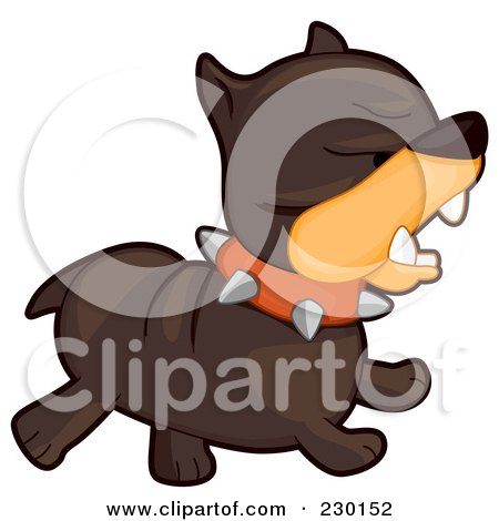 Royalty-Free (RF) Clipart Illustration of a Mad Brown Bulldog Running by BNP Design Studio