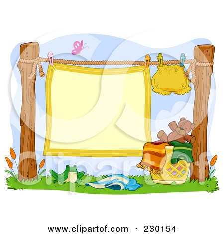 Royalty-Free (RF) Clipart Illustration of a Blank Baby Blanket Sign Hanging On A Clothes Line With A Cloth Diaper by BNP Design Studio