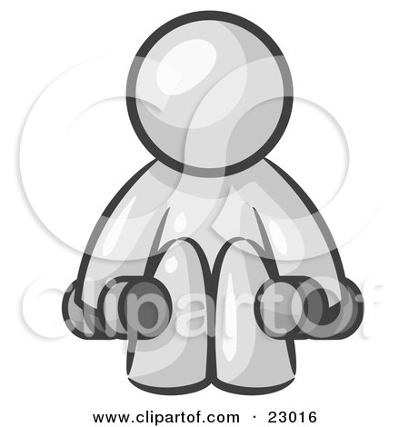 Clipart Illustration of a White Man Lifting Dumbells While Strength Training by Leo Blanchette