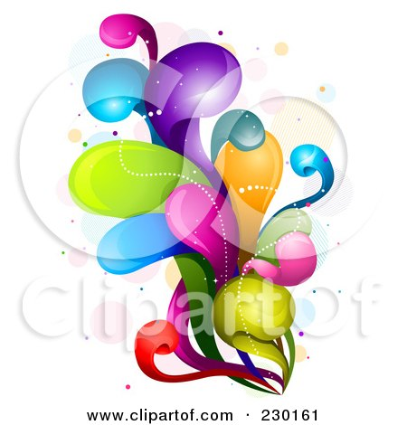 Royalty-Free (RF) Clipart Illustration of a Colorful Rainbow Splash - 8 by BNP Design Studio
