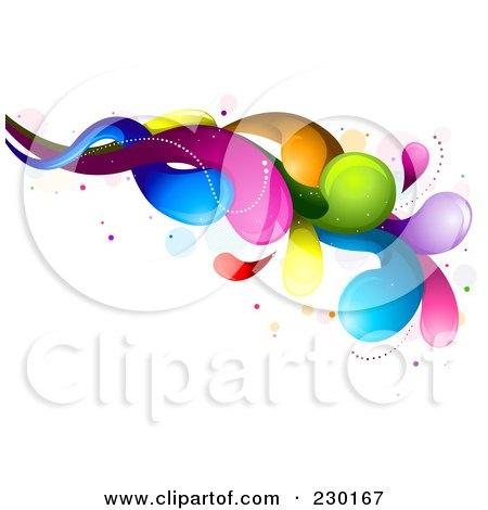 Royalty-Free (RF) Clipart Illustration of a Colorful Rainbow Splash - 7 by BNP Design Studio