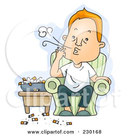 Royalty-Free (RF) Clipart Illustration of a Gross Man Chain Smoking Over Blue by BNP Design Studio