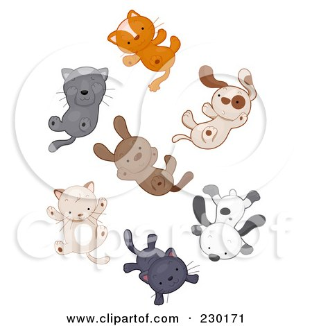 Royalty-Free (RF) Clipart Illustration of Cats And Dogs Raining by BNP Design Studio