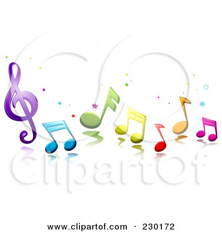 Royalty-Free (RF) Clipart Illustration of Colorful Music Notes And Stars by BNP Design Studio
