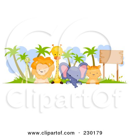 Royalty-Free (RF) Clipart Illustration of a Cute Animal Border Sign by BNP Design Studio