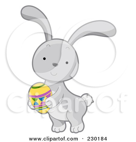 Royalty-Free (RF) Clipart Illustration of a Cute Gray Rabbit Holding An Easter Egg by BNP Design Studio