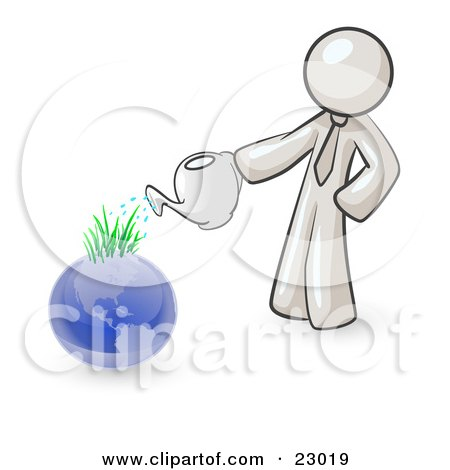Clipart Illustration of a White Man Using A Watering Can To Water New Grass Growing On Planet Earth, Symbolizing Someone Caring For The Environment by Leo Blanchette