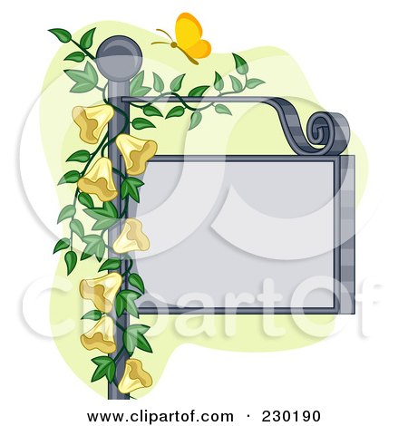Royalty-Free (RF) Clipart Illustration of a Butterfly Over A Blank Sign Post With Yellow Flowers by BNP Design Studio