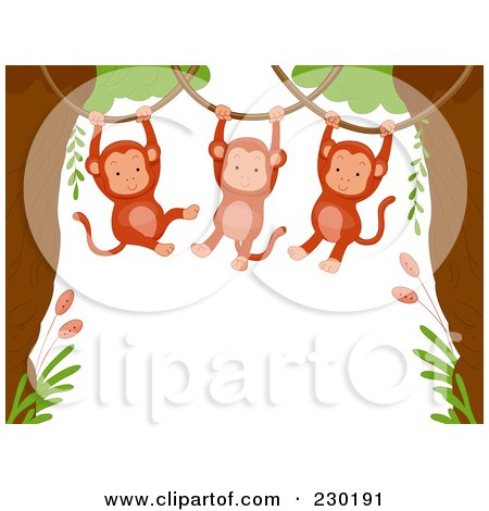 Cute Animal Border Of Hanging Monkeys Around White Space Posters, Art Prints