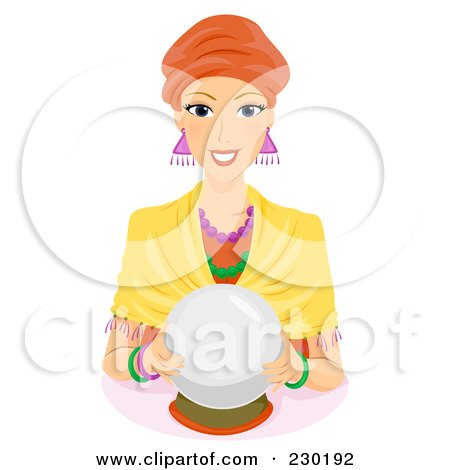 Friendly Female Fortune Teller With A Crystal Ball Posters, Art Prints