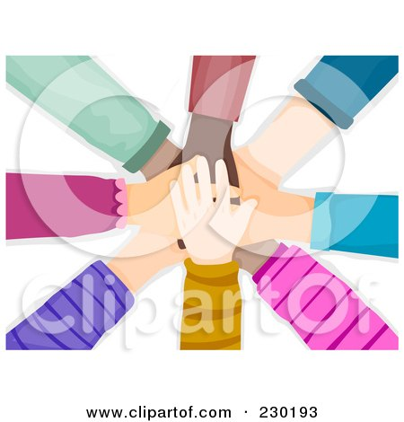 Royalty-Free (RF) Clipart Illustration of a Diverse Hands Stacked by BNP Design Studio