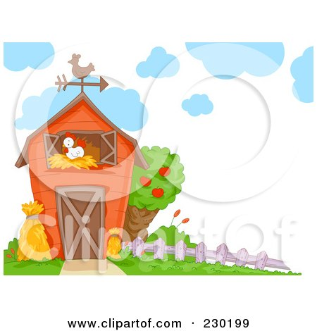Royalty-Free (RF) Clipart Illustration of a Chicken in a Barn by BNP Design Studio