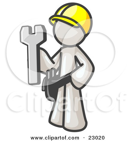 Clipart Illustration of a Proud White Construction Worker Man in a Hardhat, Holding a Wrench Clipart Illustration by Leo Blanchette