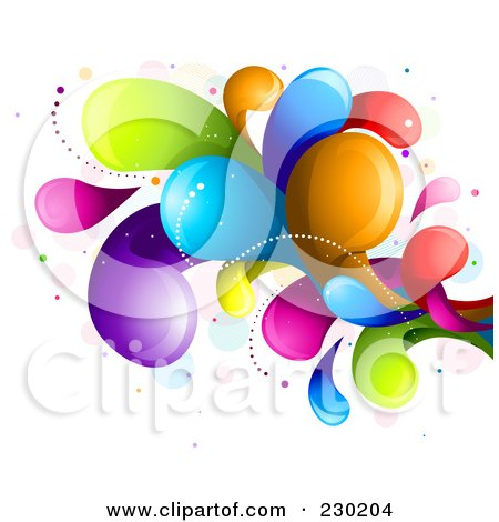 Royalty-Free (RF) Clipart Illustration of a Colorful Rainbow Splash - 6 by BNP Design Studio