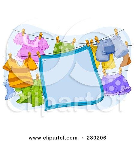 Royalty-Free (RF) Clipart Illustration of a Blue Blanket Sign Hanging On A Clothesline by BNP Design Studio