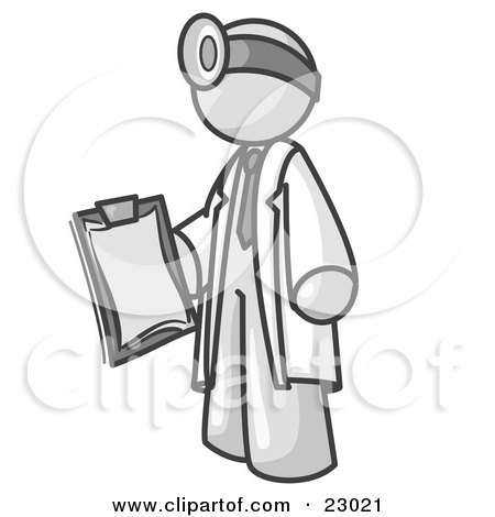 White Male Doctor Holding a Clipboard And Wearing a Head Lamp Posters, Art Prints