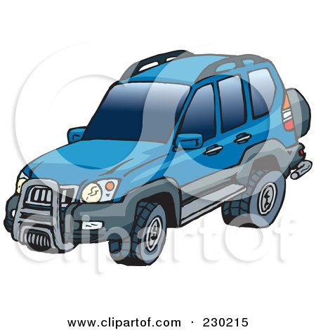Royalty-Free (RF) Clipart Illustration of a Blue Landcruiser SUV by Dennis Holmes Designs
