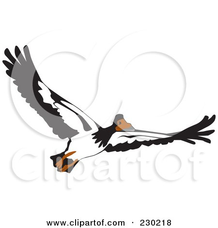 Royalty-Free (RF) Clipart Illustration of a Flying Goose by Dennis Holmes Designs