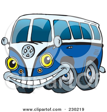 Royalty-Free (RF) Clipart Illustration of a Blue VW Kombi Van Character by Dennis Holmes Designs
