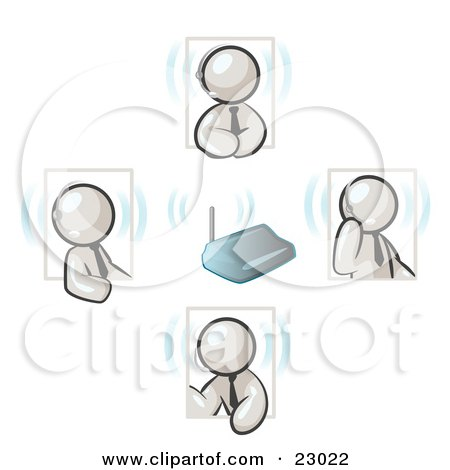 Clipart Illustration of White Men Holding A Phone Meeting And Wearing Wireless Headsets by Leo Blanchette