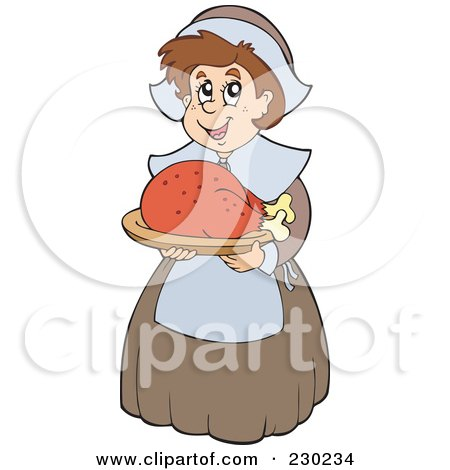 Royalty-Free (RF) Clipart Illustration of a Pilgrim Lady Holding A Roasted Turkey by visekart