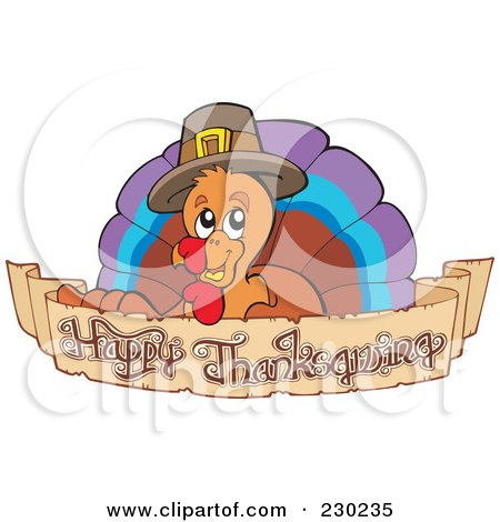 Royalty-Free (RF) Clipart Illustration of a Thanksgiving Turkey Bird Over A Greeting Banner by visekart
