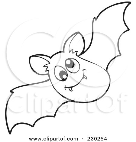 royaltyfree rf clipart of a coloring page outline of a vampire bat by visekart - Cute Halloween Bat Coloring Pages