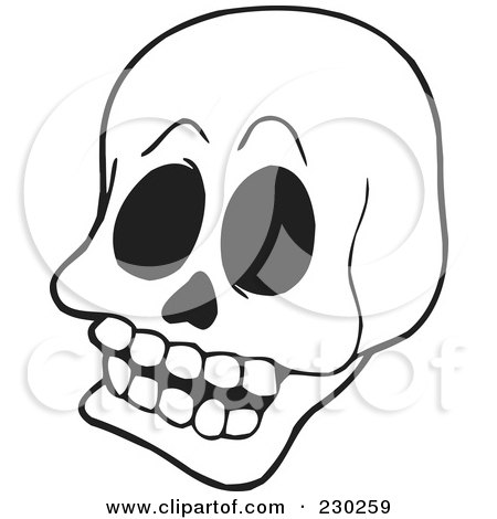 Royalty-Free (RF) Clipart Illustration of a Coloring Page Outline Of A Skull by visekart