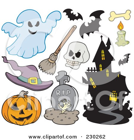 Royalty-Free (RF) Clipart Illustration of a Digital Collage Of Halloween Icons - 1 by visekart