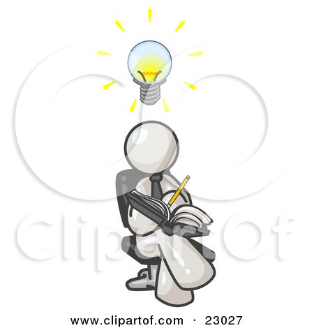 Smart White Man Seated With His Legs Crossed, Brainstorming and Writing Ideas Down in a Notebook, Lightbulb Over His Head Posters, Art Prints
