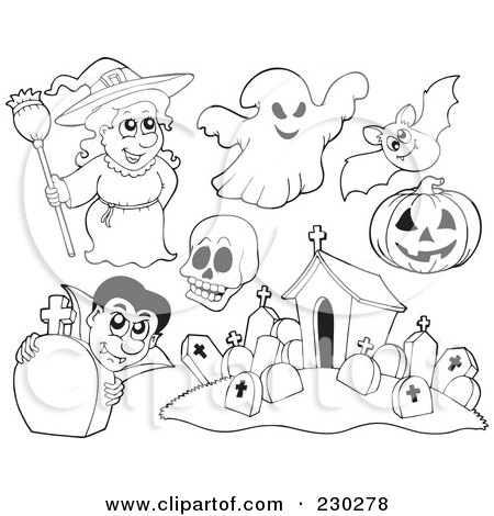 Royalty-Free (RF) Clipart Illustration of a Digital Collage Of Halloween Coloring Page Outlines Of A Witch, Ghost, Skull, Bat, Pumpkin, Vampire And Cemetery by visekart
