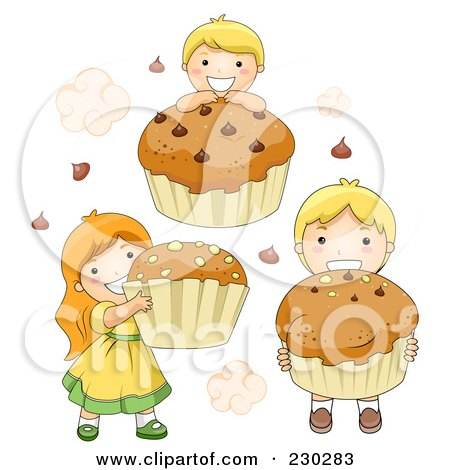 Royalty-Free (RF) Clipart Illustration of Children With Cupcakes by BNP Design Studio
