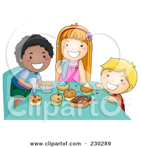 Royalty-Free (RF) Clipart Illustration of Diverse Kids Making Cupcakes by BNP Design Studio