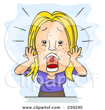 Royalty-Free (RF) Clipart Illustration of a Woman Screaming Over Pimples On Blue by BNP Design Studio
