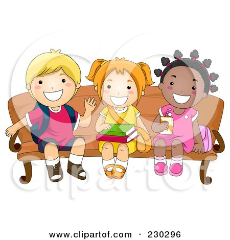 Royalty-Free (RF) Clipart Illustration of Diverse School Kids Waiting On A Bench by BNP Design Studio