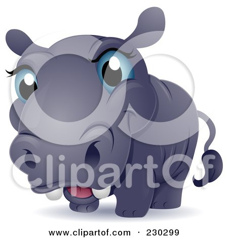 Royalty-Free (RF) Clipart Illustration of a Cute Blue Eyed Baby Hippo by BNP Design Studio