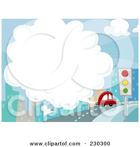 Royalty-Free (RF) Clipart Illustration of a Car Exhaust In The City Background by BNP Design Studio