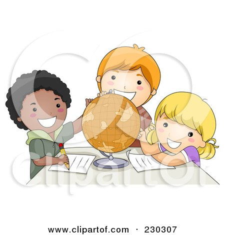 Royalty-Free (RF) Clipart Illustration of Diverse School Kids Studying A Globe by BNP Design Studio