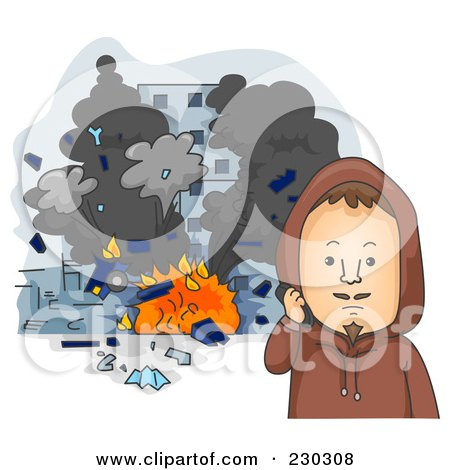 Royalty-Free (RF) Clipart Illustration of a Terrorist By Exploding Buildings On Gray by BNP Design Studio