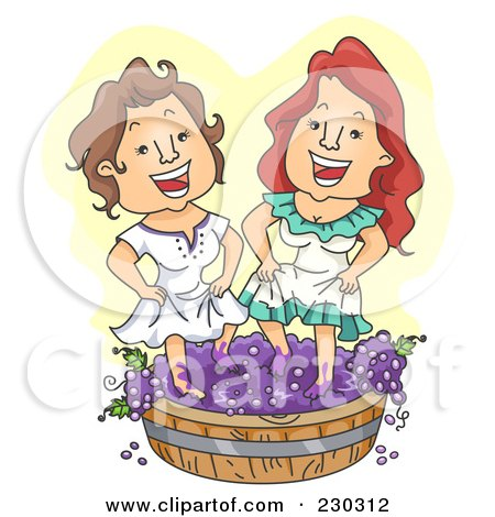 Royalty-Free (RF) Clipart Illustration of Two Women Stomping Grapes Over Yellow by BNP Design Studio