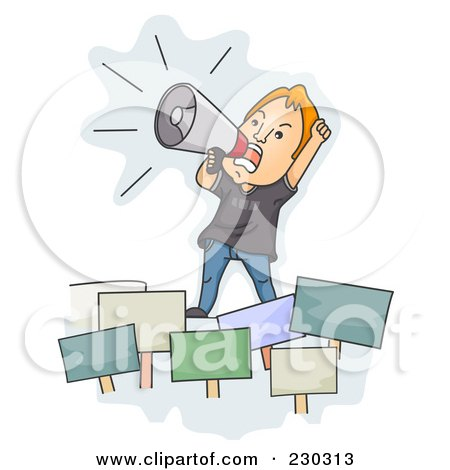 Royalty-Free (RF) Clipart Illustration of an Angry Man Rallying Over Blue by BNP Design Studio