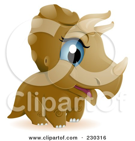 Royalty-Free (RF) Clip Art Illustration of a Cute Baby Triceratops Dino by BNP Design Studio