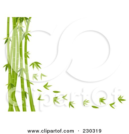 Royalty-Free (RF) Clipart Illustration of a Bamboo Stalks And Leaves Background by BNP Design Studio