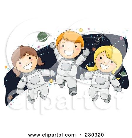 Royalty-Free (RF) Clipart Illustration of Children Astronauts by BNP Design Studio