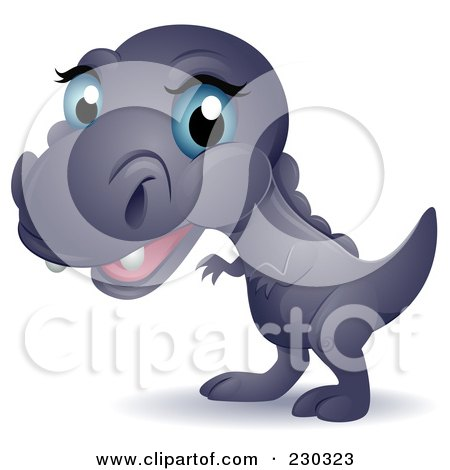 Royalty-Free (RF) Clipart Illustration of a Cute Blue Eyed Baby T Rex by BNP Design Studio