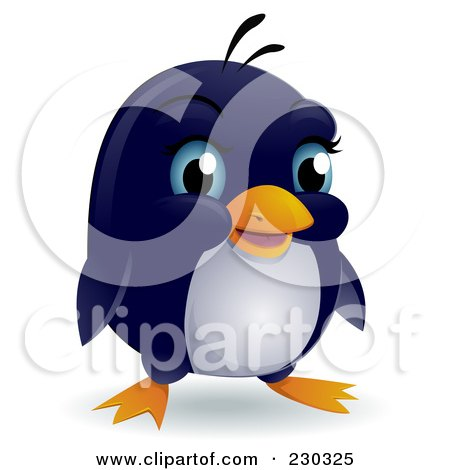 Royalty-Free (RF) Clipart Illustration of a Cute Blue Eyed Baby Penguin by BNP Design Studio