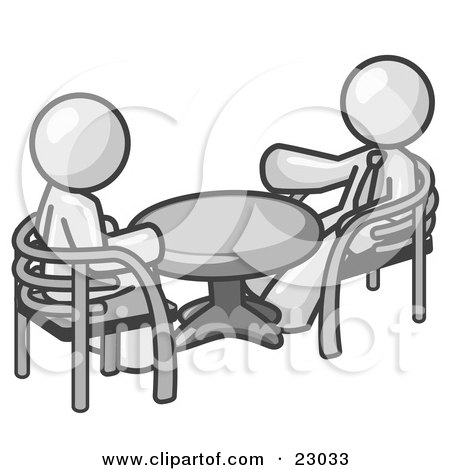 Clipart Illustration of Two White Business Men Sitting Across From Eachother at a Table During a Meeting by Leo Blanchette