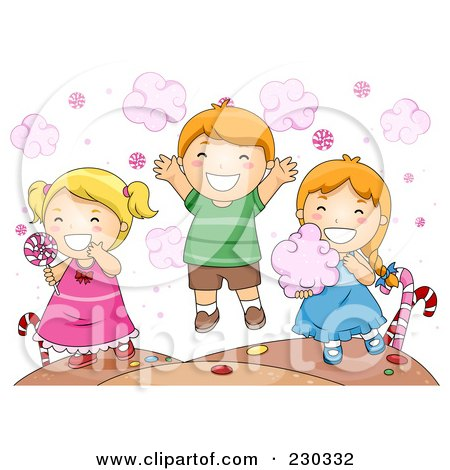 Royalty-Free (RF) Clipart Illustration of Children Eating Candy by BNP Design Studio