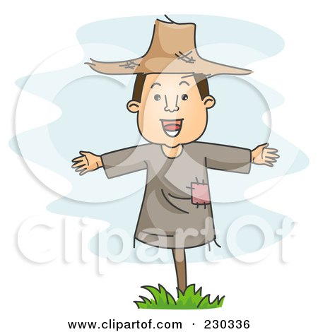 Royalty-Free (RF) Clipart Illustration of a Scarecrow Man Over Blue by BNP Design Studio